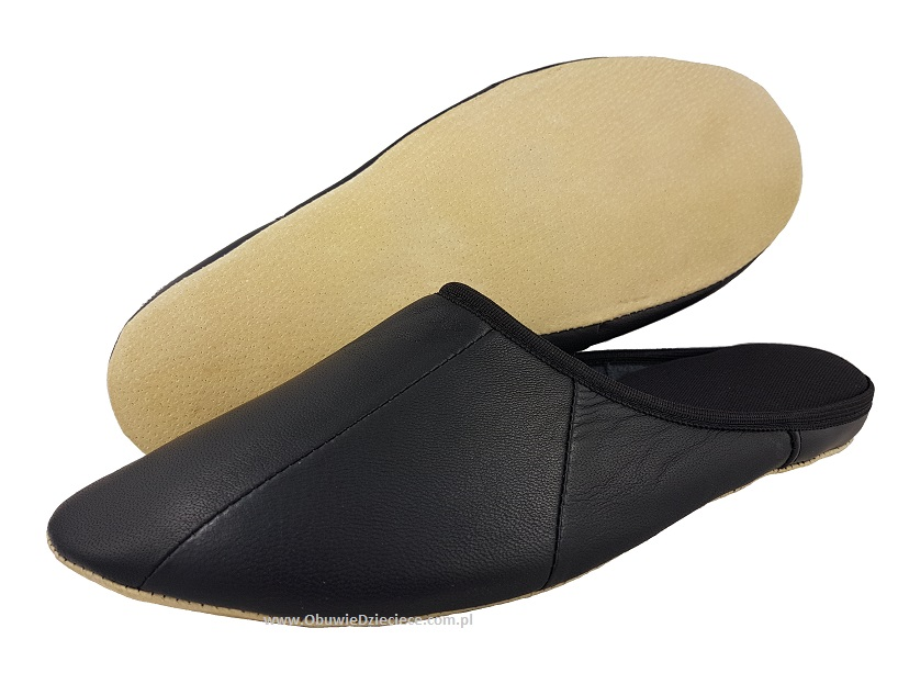 46e469a7 7-00ŁOŚ1 czarne skórzane :: SKÓRA NATURALNA :: pantofle kapcie domowe męskie  Bisbut ...