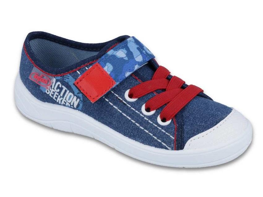 1 251X101 Tim JEANS CZERWONY :: półtrampki chłopięce na rzep kapcie buciki obuwie dziecięce buty Befado 25 30