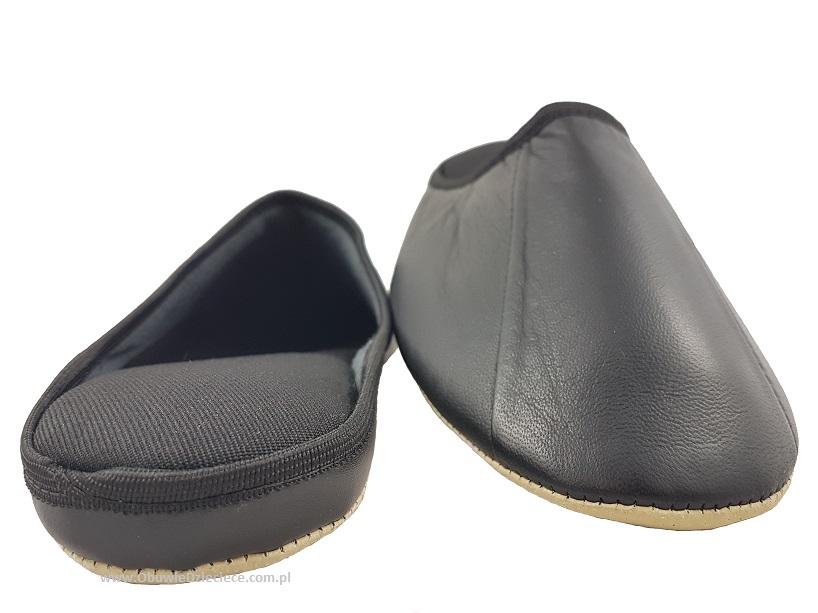 e2a79fff9239 ... 7-00ŁOŚ1 czarne skórzane    SKÓRA NATURALNA    pantofle kapcie domowe  męskie Bisbut ...