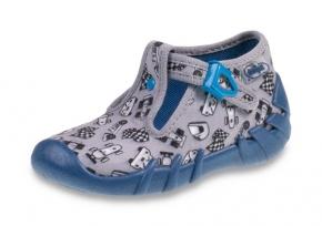 64e72b9f 0-110P312 SPEEDY SZARO NIEBIESKIE z autkami kapcie buciki obuwie dziecięce  poniemowlęce Befado 18-