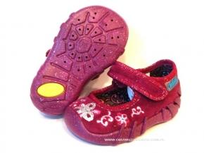 7cb65021 0-109P035 SPEEDY bordowe kapcie-buciki-czółenka-obuwie dziecięce  poniemowlęce Befado 20