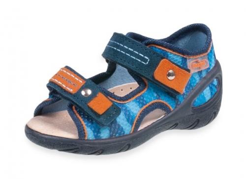 01 065P114 SUNNY GRANATOWO NIEBIESKIE sandałki : WKŁADKI SKÓRZANE i RZEPY : sandały profilaktyczne kapcie obuwie dziecięce Befado 20 25