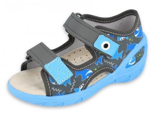 01 065P128 SUNNY SZARO NIEBIESKIE sandałki : WKŁADKI SKÓRZANE : sandały profilaktyczne kapcie obuwie dziecięce Befado 20 25