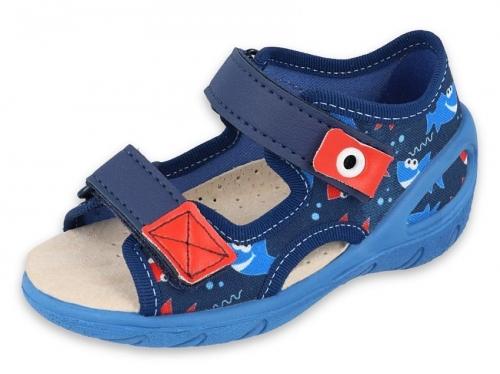 01 065P129 SUNNY GRANATOWO NIEBIESKIE sandałki : WKŁADKI SKÓRZANE : sandały profilaktyczne kapcie obuwie dziecięce Befado 20 25