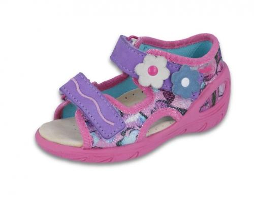01 065P120 SUNNY RÓŻOWO FIOLETOWE z kwiatkami sandałki sandały profilaktyczne kapcie obuwie dziecięce Befado 20 25