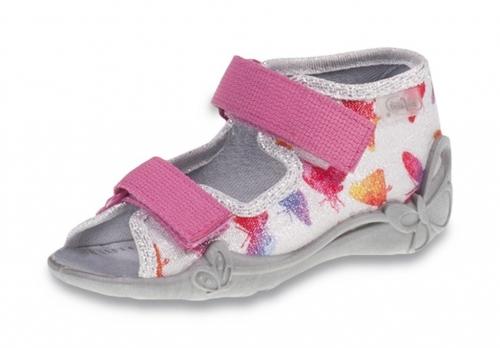 91a059e7 01-242P075 PAPI SZARO RÓŻOWE w motylki sandałki kapcie buciki obuwie wcz.dziecięce  buty