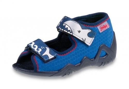 892f1859 01-250P069 SNAKE NIEBIESKO GRANATOWY rekin sandalki kapcie buciki obuwie  dziecięce wcz.dziecięce buty