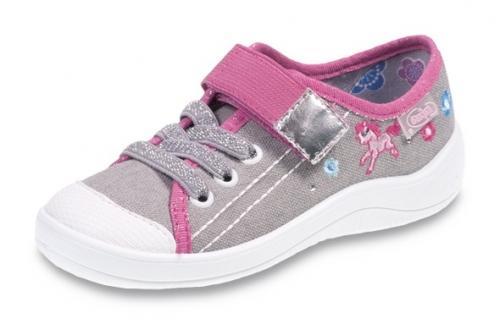 2dbe97035da9b 1-251X073 Tim szaro różowe półtrampki na rzep kapcie buciki obuwie  dziecięce buty Befado 25