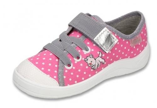 1 251X072 Tim różowe półtrampki na rzep kapcie buciki obuwie dziecięce buty Befado 25 30