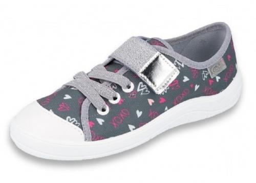 1 251X138 TIM SZARO SREBRNE w serduszka :: półtrampki na rzep kapcie dziewczęce buciki obuwie dziecięce buty Befado 25 30