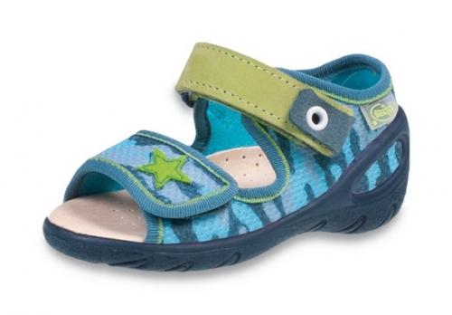 01 433P023 SUNNY NIEBIESKIE MORO sandałki : WKŁADKI SKÓRZANE i RZEP : sandały profilaktyczne kapcie obuwie dziecięce Befado 20 25