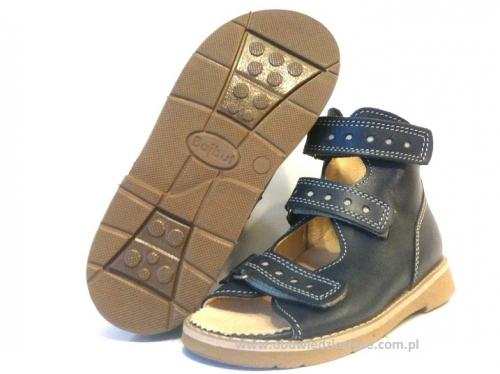 12359589e 8-B-26gr BAJBUT GRANATOWE sandałki : WKŁADKI SKÓRZANE ORTO SUPINUJĄCE :  trzewiki buty