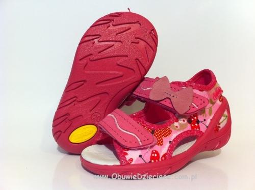 01 065P087 SUNNY RÓŻOWE sandałki : WKŁADKI SKÓRZANE i RZEPY : sandały profilaktyczne kapcie obuwie dziecięce Befado 20 25