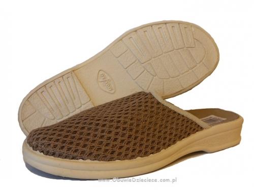 cb20f4d63a9c1 7-089M037 PARYS c.beżowe klapki, kapcie, pantofle domowe męskie Befado 40