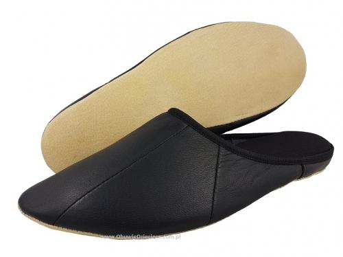 1382956d 7-00ŁOŚ1 czarne skórzane :: SKÓRA NATURALNA :: pantofle kapcie domowe  męskie Bisbut
