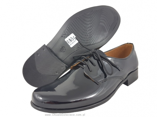 474302b9c7c27 2-KMK 99 LAK czarne lakierowane sznurowane półbuty wizytowe komunijne  obuwie dziecięce 31 - 36
