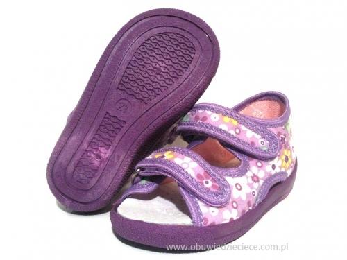 c13aeed657e70 0-13-112 fioletowe w kwiatki sandałki kapcie obuwie wcz.dziecięce buty  Renbut